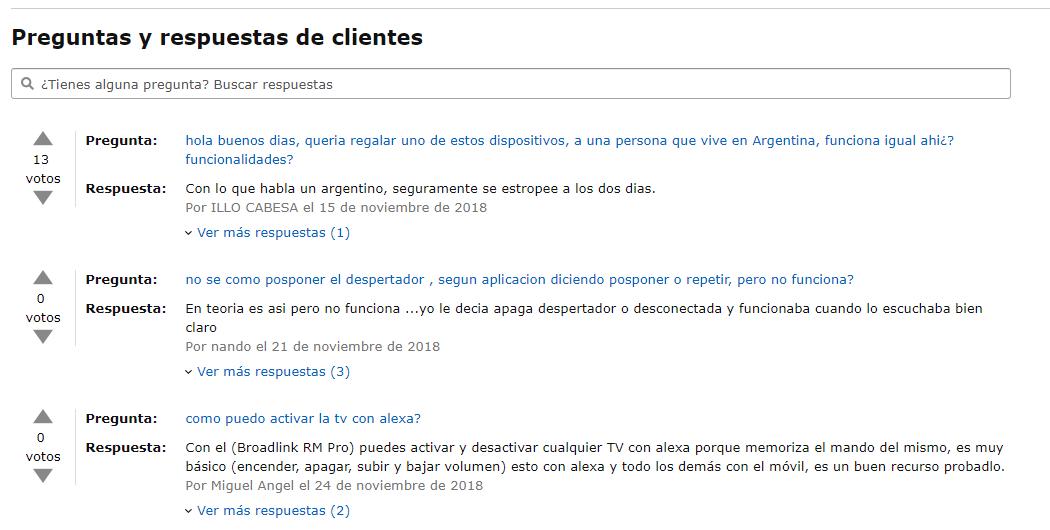 Valoraciones en Amazon: preguntas y respuestas de clientes