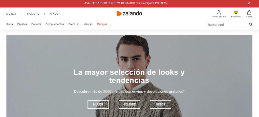Asos vs Zalando: página de Zalando