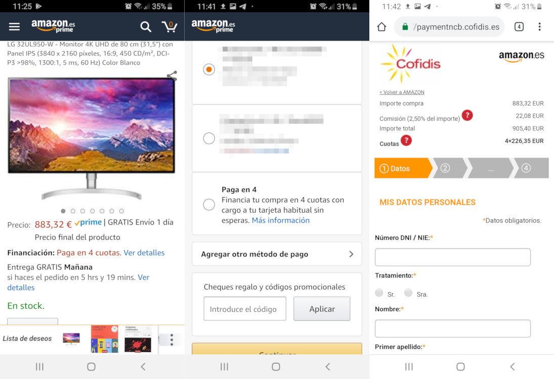 Pagar a plazos en Amazon