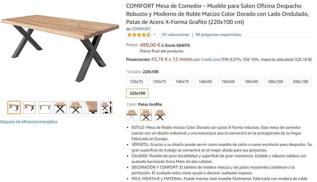 Ejemplo de ficha de producto completa en un marketplace