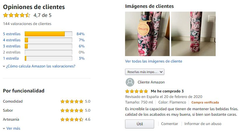 Revisiones de clientes en Amazon