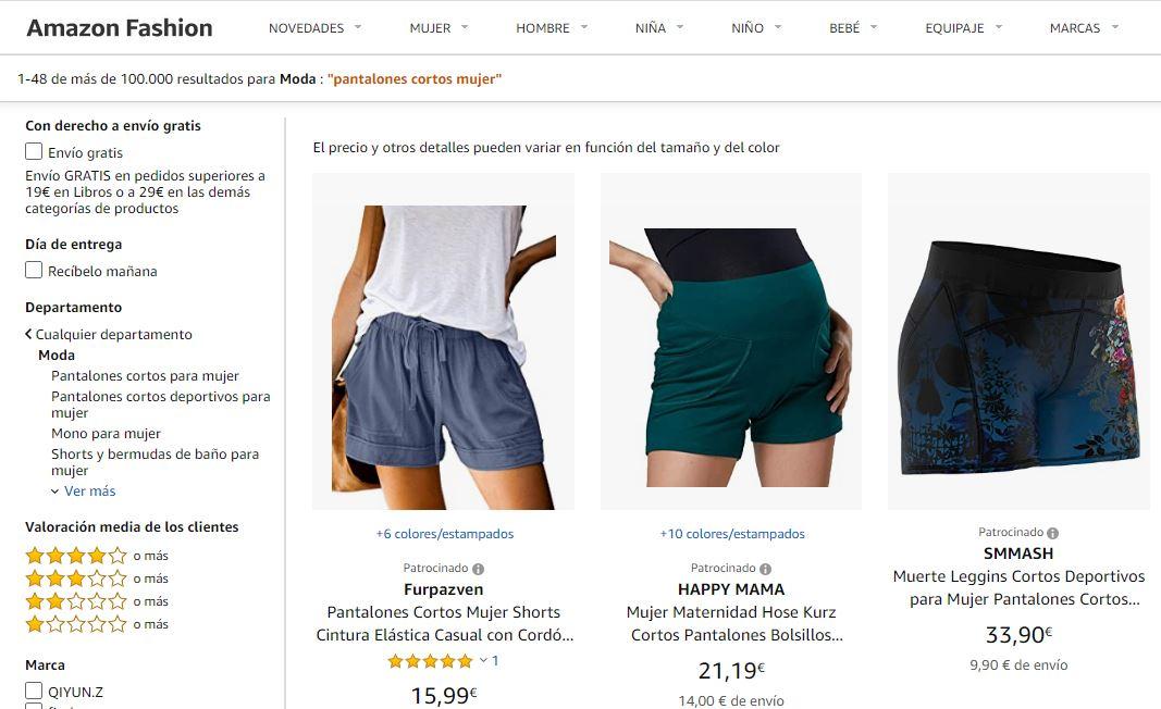 Productos de moda patrocinados en Amazon